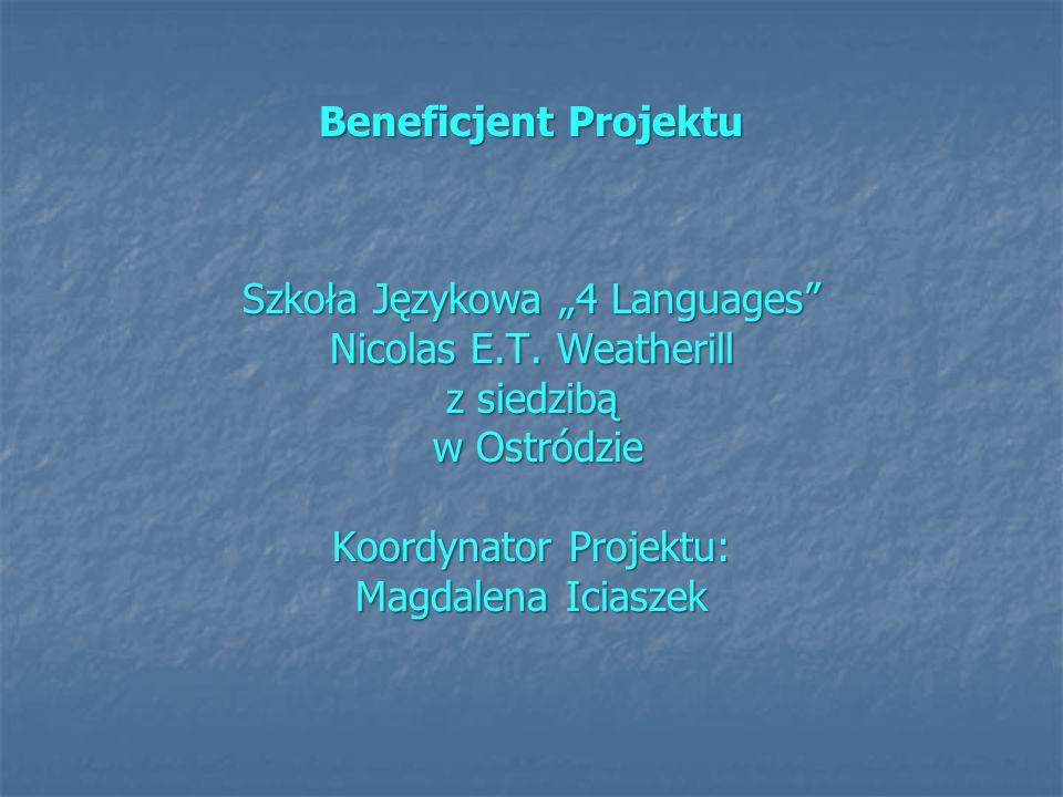 """Szkoła Językowa """"4 Languages Nicolas E.T. Weatherill z siedzibą"""
