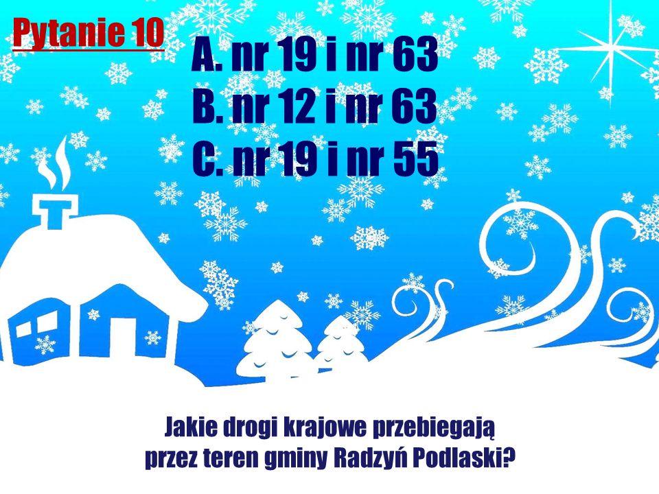 A. nr 19 i nr 63 B. nr 12 i nr 63 C. nr 19 i nr 55 Pytanie 10
