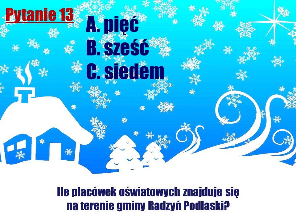 A. pięć B. sześć C. siedem Pytanie 13