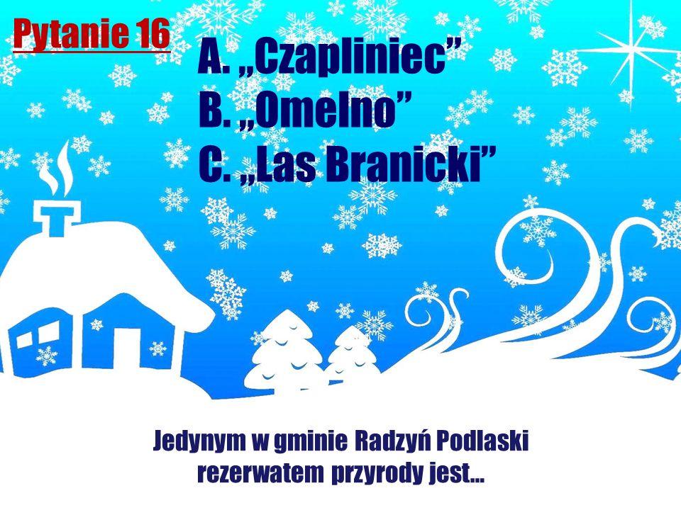 """A. """"Czapliniec B. """"Omelno C. """"Las Branicki Pytanie 16"""