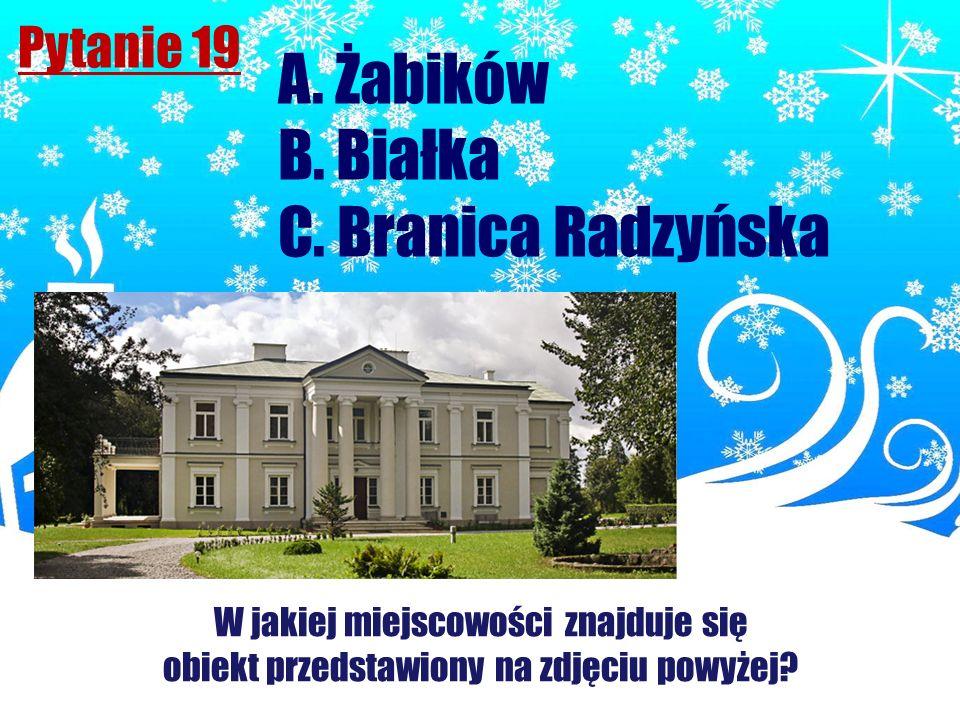 A. Żabików B. Białka C. Branica Radzyńska Pytanie 19