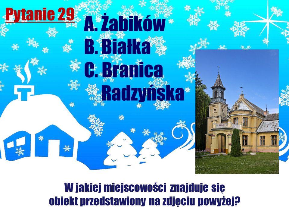 A. Żabików B. Białka C. Branica Radzyńska Pytanie 29