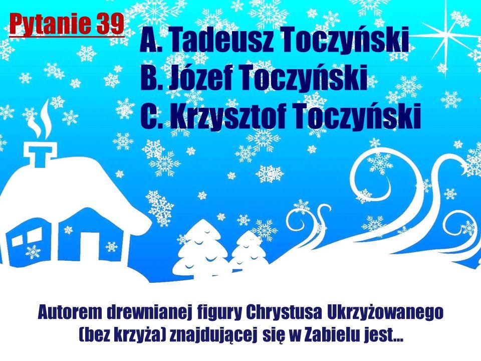 A. Tadeusz Toczyński B. Józef Toczyński C. Krzysztof Toczyński