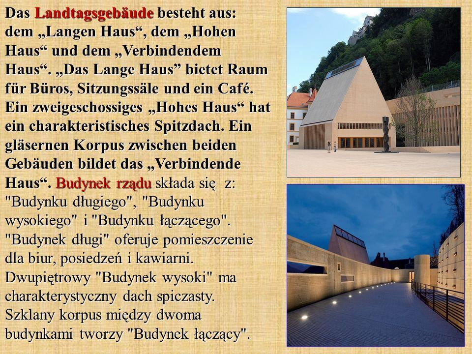 """Das Landtagsgebäude besteht aus: dem """"Langen Haus , dem """"Hohen Haus und dem """"Verbindendem Haus ."""