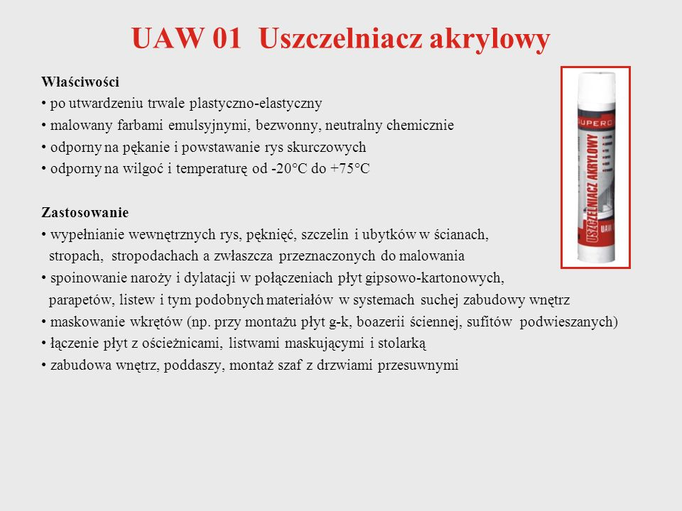 UAW 01 Uszczelniacz akrylowy