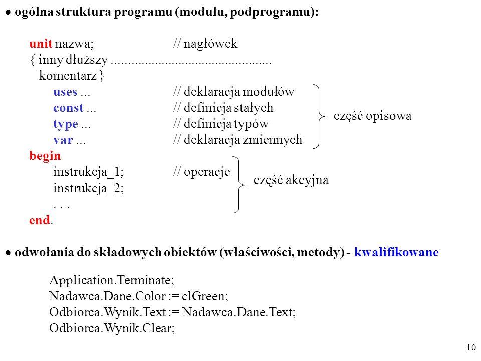 ogólna struktura programu (modułu, podprogramu):