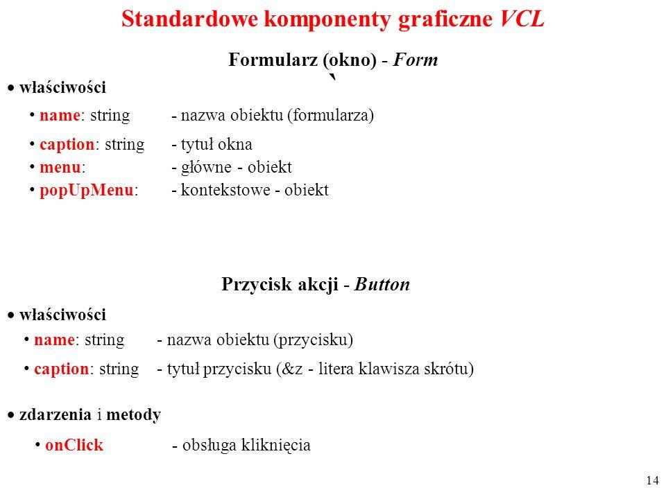 ` Standardowe komponenty graficzne VCL Formularz (okno) - Form