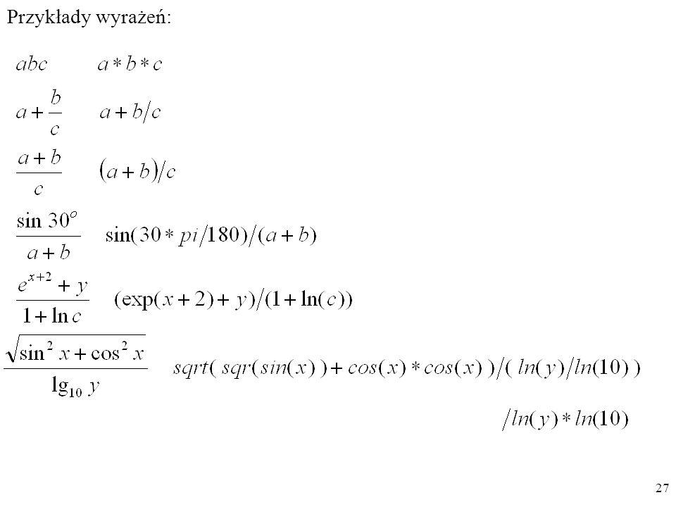 Przykłady wyrażeń: 27