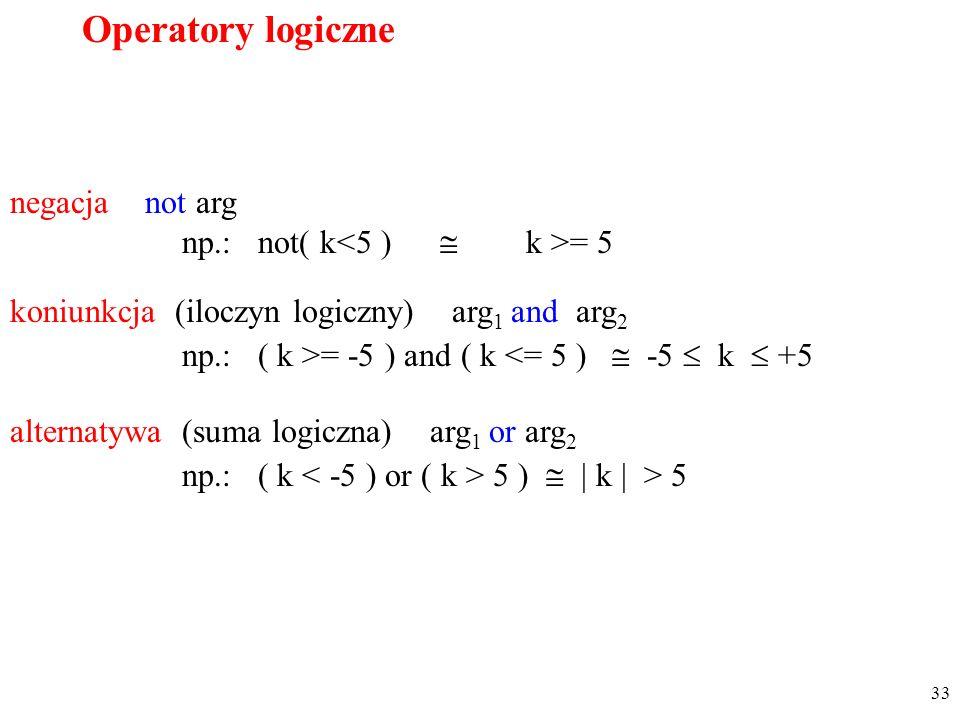 Operatory logiczne negacja not arg np.: not( k<5 )  k >= 5