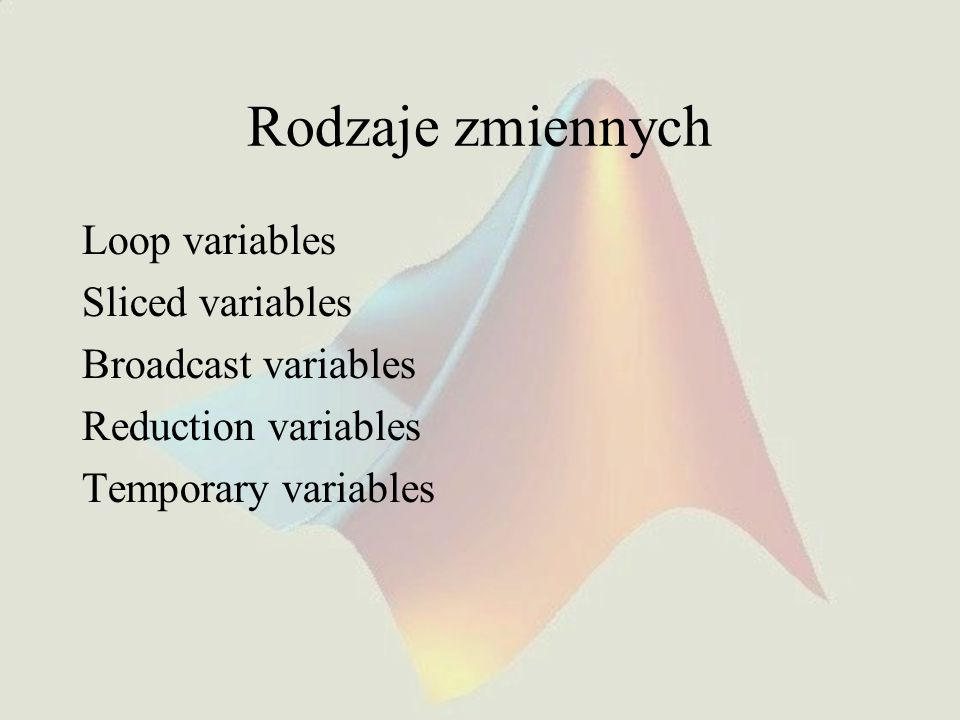 Rodzaje zmiennych Loop variables Sliced variables Broadcast variables