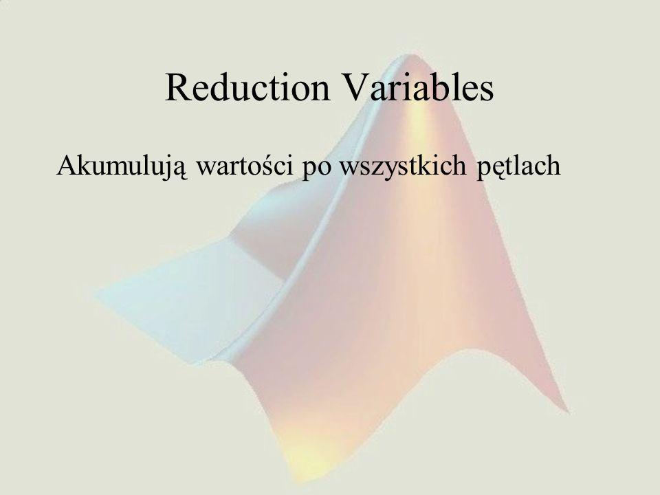 Reduction Variables Akumulują wartości po wszystkich pętlach