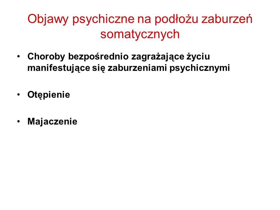 Objawy psychiczne na podłożu zaburzeń somatycznych