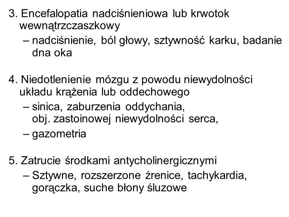 3. Encefalopatia nadciśnieniowa lub krwotok wewnątrzczaszkowy