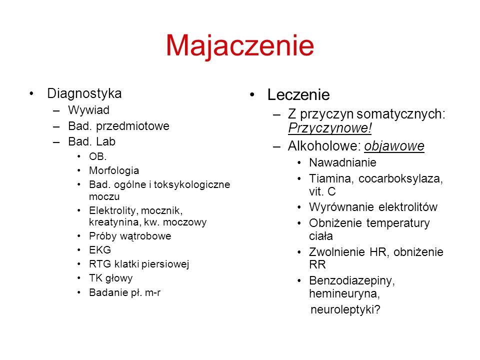 Majaczenie Leczenie Diagnostyka Z przyczyn somatycznych: Przyczynowe!