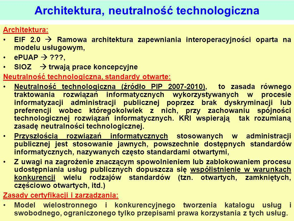 Architektura, neutralność technologiczna
