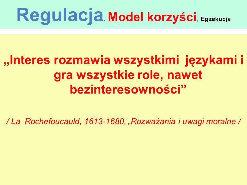 Regulacja, Model korzyści, Egzekucja