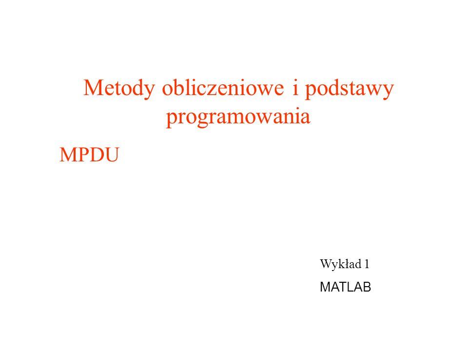 Metody obliczeniowe i podstawy programowania
