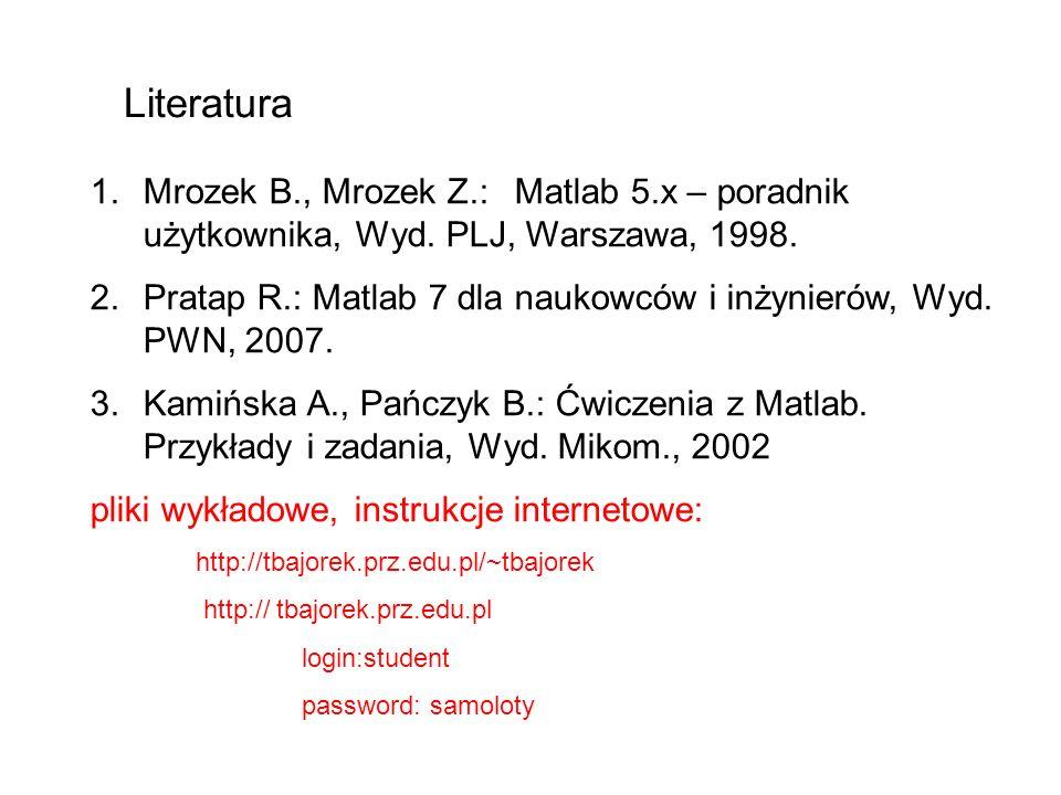 Literatura Mrozek B., Mrozek Z.: Matlab 5.x – poradnik użytkownika, Wyd. PLJ, Warszawa, 1998.