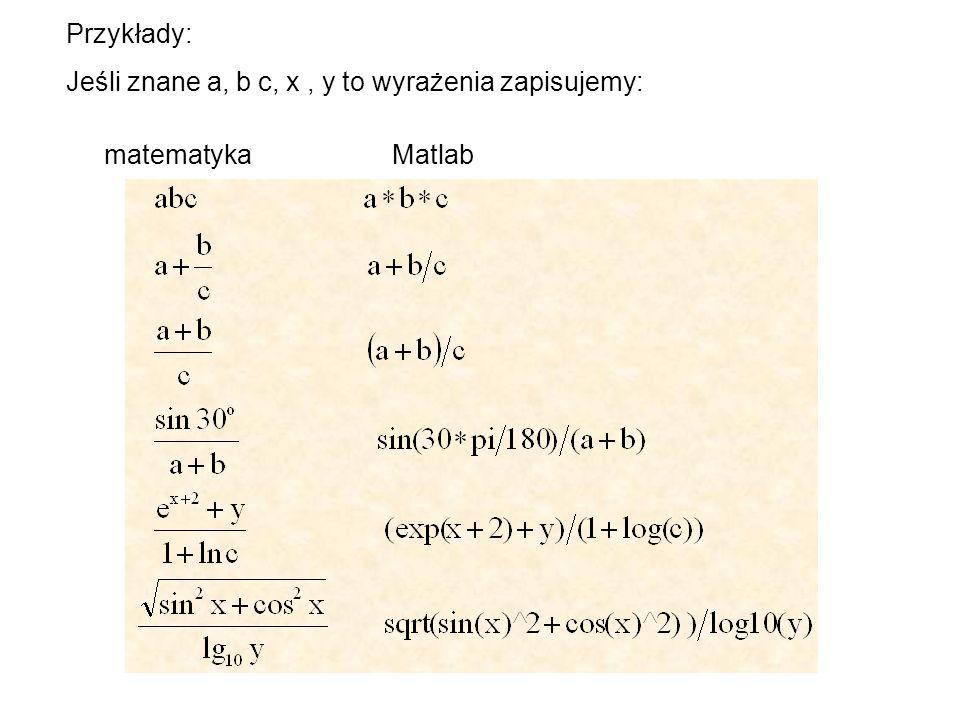 Przykłady: Jeśli znane a, b c, x , y to wyrażenia zapisujemy: matematyka Matlab