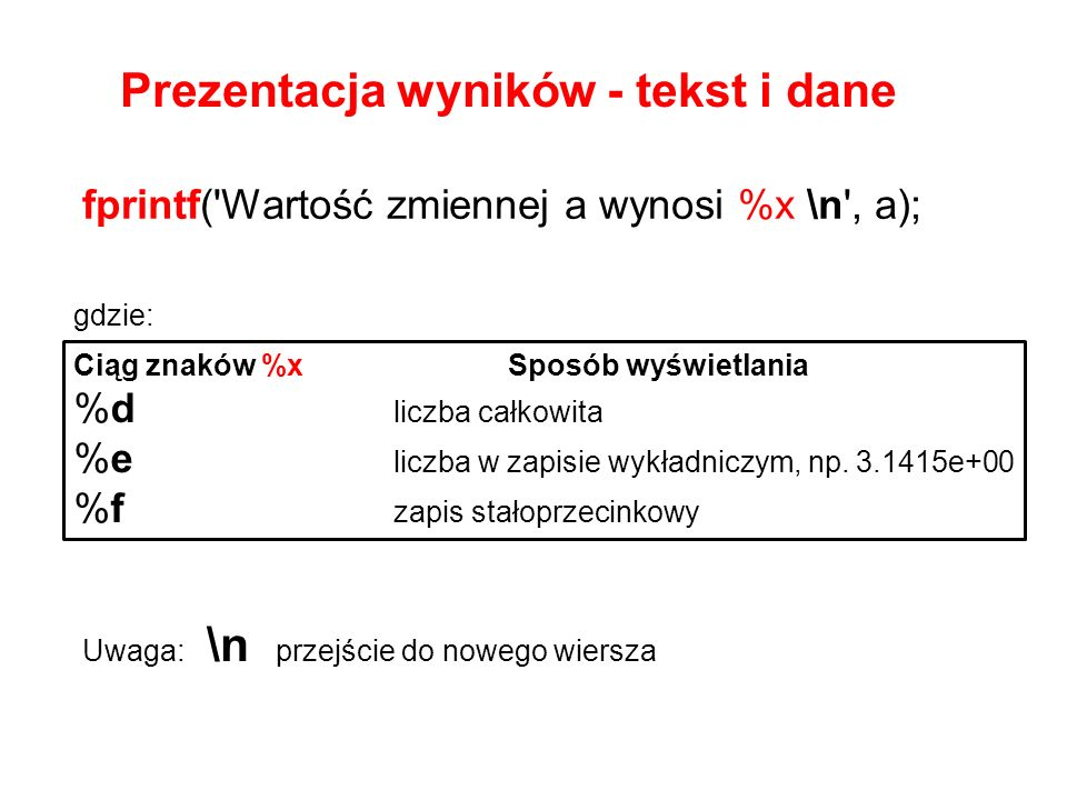 Prezentacja wyników - tekst i dane