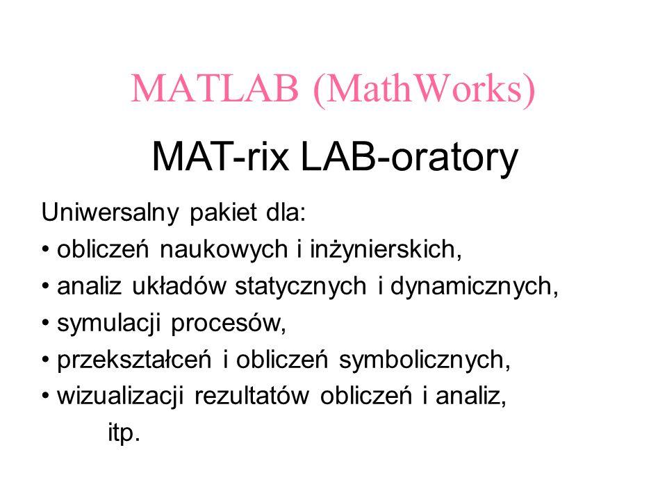 MATLAB (MathWorks) MAT-rix LAB-oratory Uniwersalny pakiet dla: