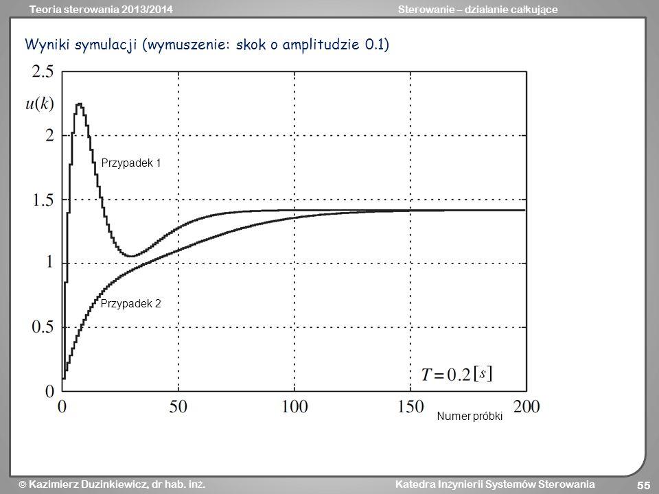 Wyniki symulacji (wymuszenie: skok o amplitudzie 0.1)