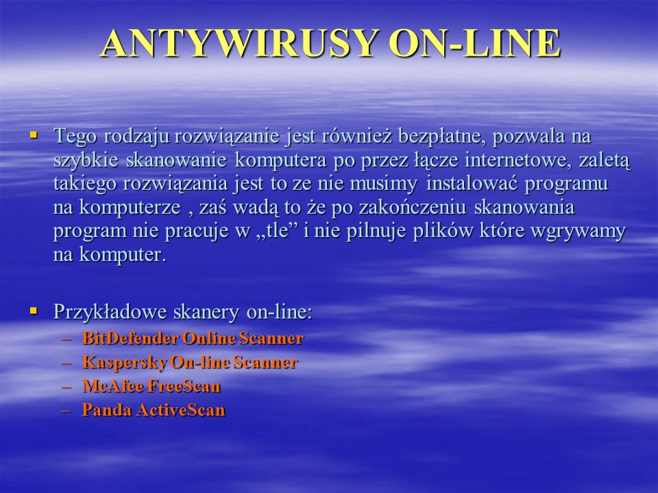 ANTYWIRUSY ON-LINE