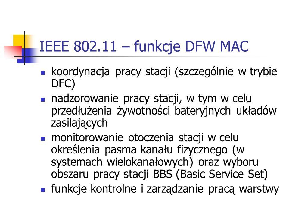 IEEE 802.11 – funkcje DFW MAC koordynacja pracy stacji (szczególnie w trybie DFC)