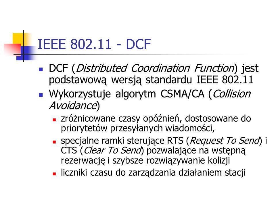 IEEE 802.11 - DCF DCF (Distributed Coordination Function) jest podstawową wersją standardu IEEE 802.11.