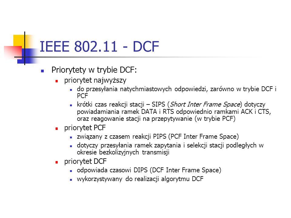 IEEE 802.11 - DCF Priorytety w trybie DCF: priorytet najwyższy