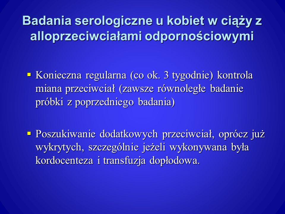 Badania serologiczne u kobiet w ciąży z alloprzeciwciałami odpornościowymi