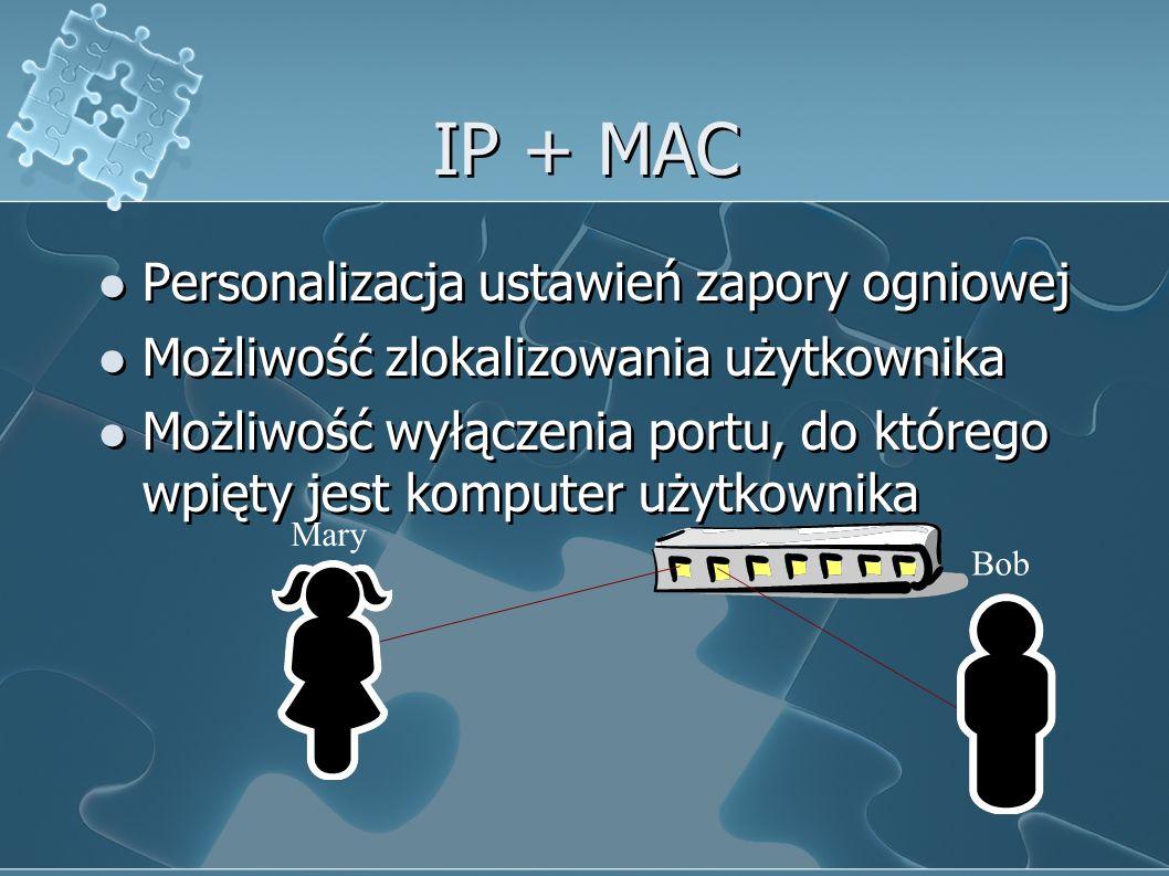 IP + MAC Personalizacja ustawień zapory ogniowej