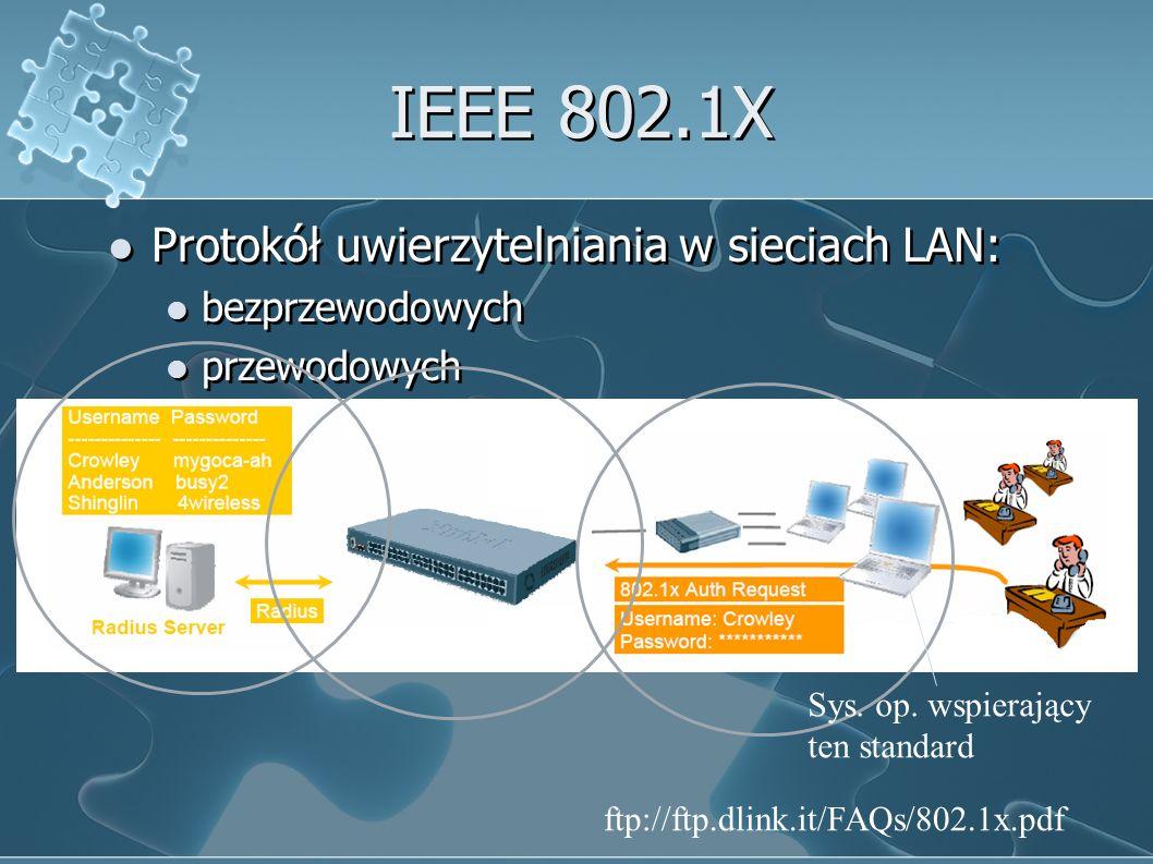 IEEE 802.1X Protokół uwierzytelniania w sieciach LAN: bezprzewodowych