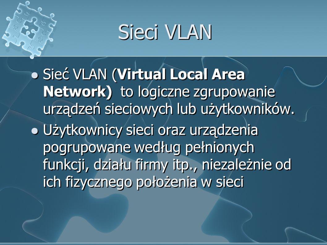 Sieci VLAN Sieć VLAN (Virtual Local Area Network) to logiczne zgrupowanie urządzeń sieciowych lub użytkowników.