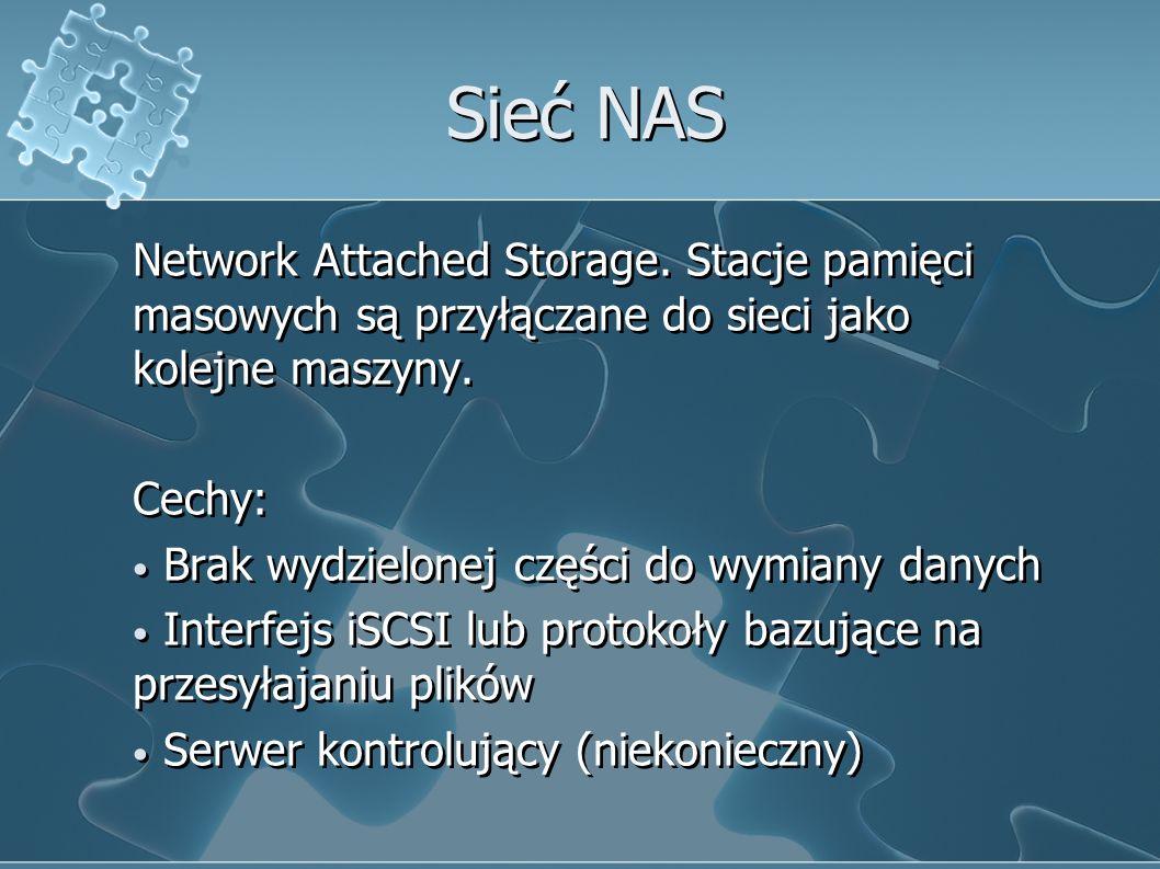 Sieć NAS Network Attached Storage. Stacje pamięci masowych są przyłączane do sieci jako kolejne maszyny.