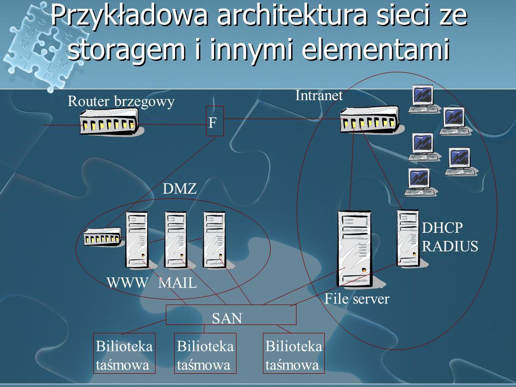 Przykładowa architektura sieci ze storagem i innymi elementami