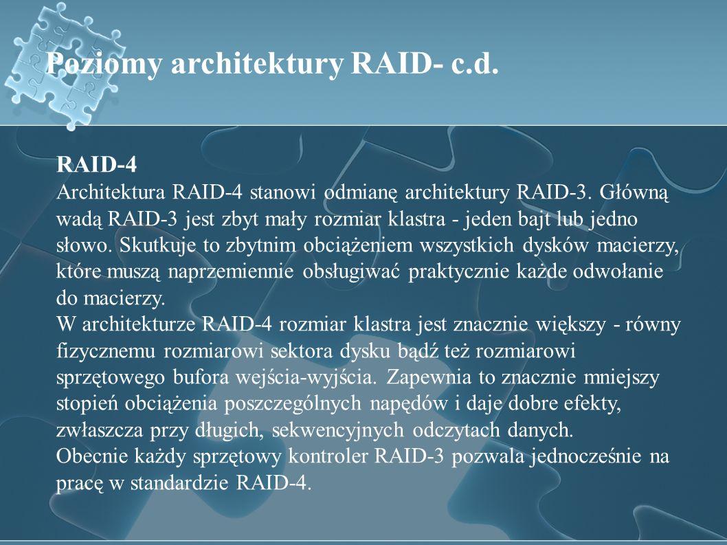 Poziomy architektury RAID- c.d.