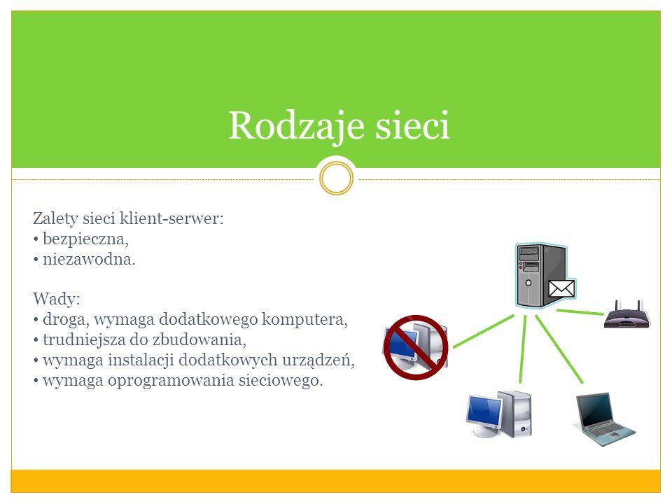 Rodzaje sieci Zalety sieci klient-serwer: bezpieczna, niezawodna.