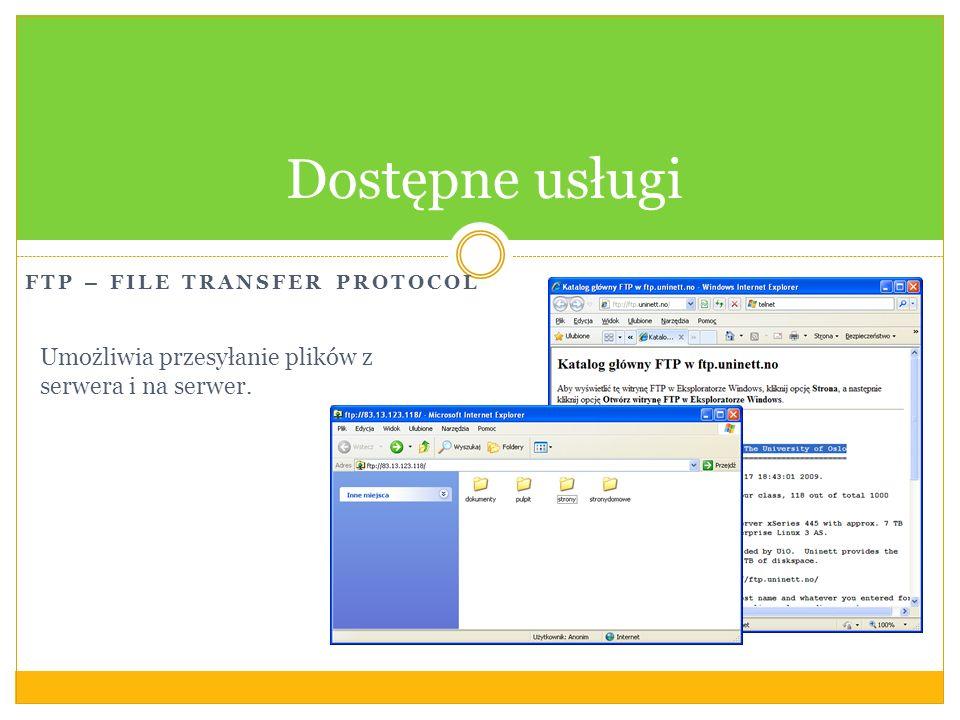 Dostępne usługi Umożliwia przesyłanie plików z serwera i na serwer.