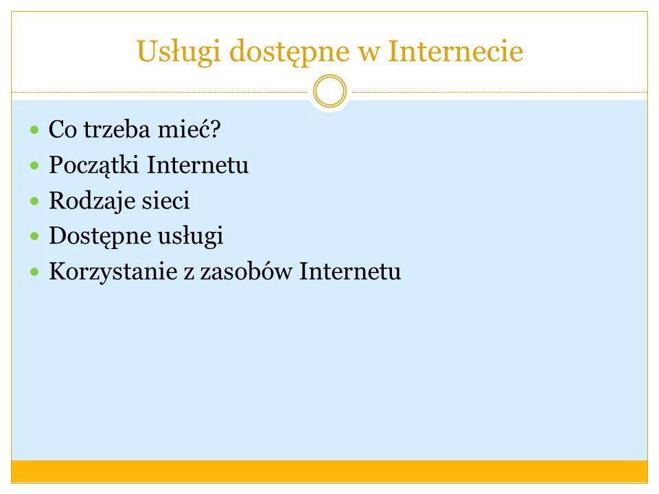 Usługi dostępne w Internecie