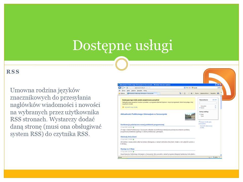 Dostępne usługi RSS.