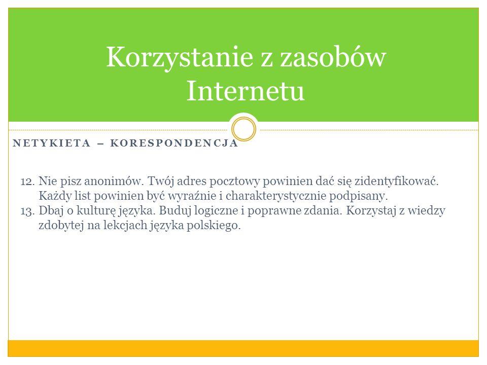 Korzystanie z zasobów Internetu