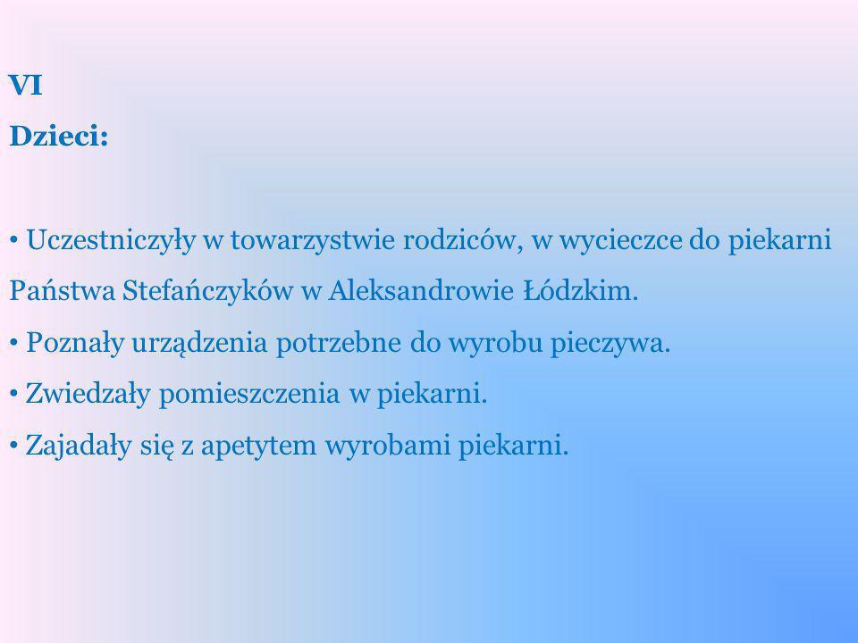 VI Dzieci: Uczestniczyły w towarzystwie rodziców, w wycieczce do piekarni Państwa Stefańczyków w Aleksandrowie Łódzkim.