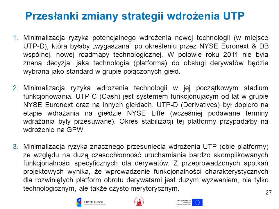 Przesłanki zmiany strategii wdrożenia UTP