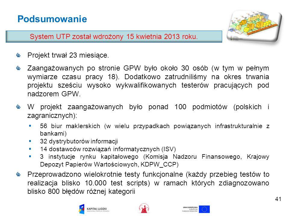 System UTP został wdrożony 15 kwietnia 2013 roku.
