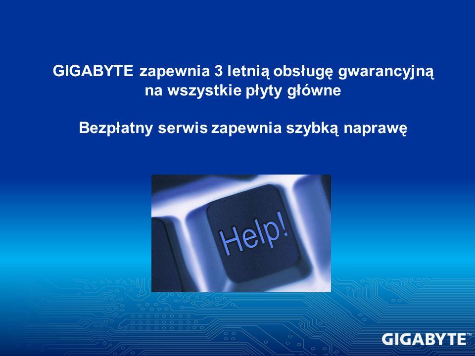 GIGABYTE zapewnia 3 letnią obsługę gwarancyjną na wszystkie płyty główne Bezpłatny serwis zapewnia szybką naprawę