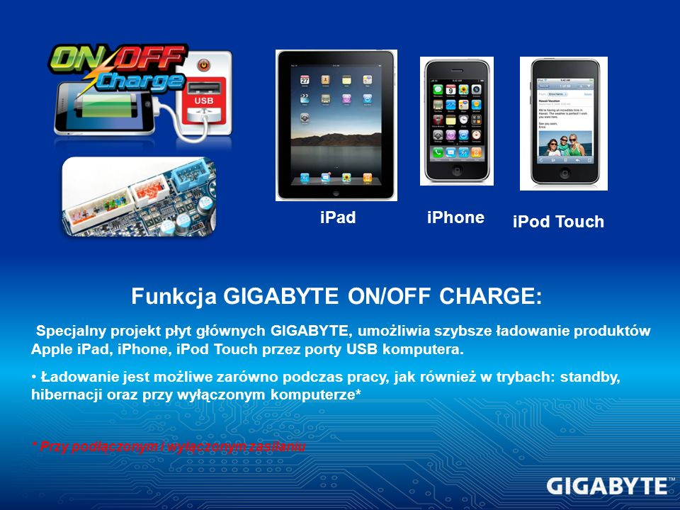 Funkcja GIGABYTE ON/OFF CHARGE: