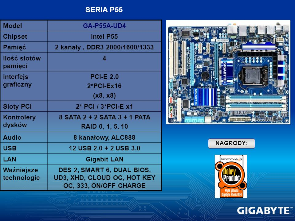 SERIA P55 Model GA-P55A-UD4 Chipset Intel P55 Pamięć