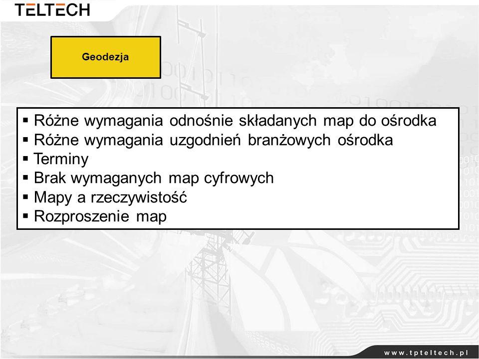 Różne wymagania odnośnie składanych map do ośrodka