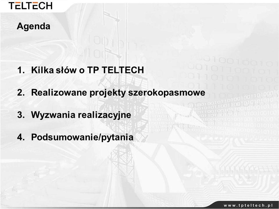 Agenda Kilka słów o TP TELTECH. Realizowane projekty szerokopasmowe.